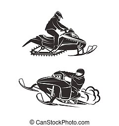 Snowmobiling Silhouette on white background