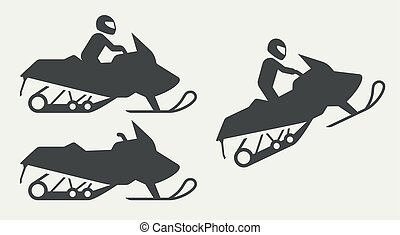 Snowmobiling silhouettes on gray background