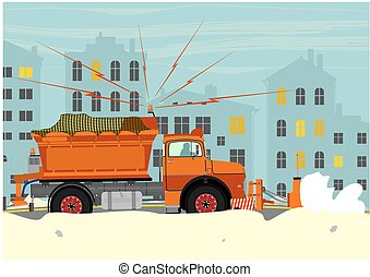 Snowplow - Illustration of snowplow. Vector without...