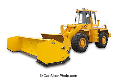 Snowplow excavator, isolated - Snow removal vehicle used ...