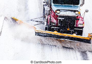snowplow, het verwijderen, sneeuw, gedurende, snowstorm, ...