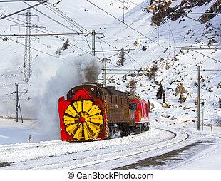 Snowplow steam, along the line of bernina in Swiss