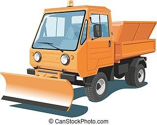 Snowplow truck - Vector isolated orange snowplow truck on...