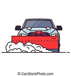 snowplowing, vista, coche, frente