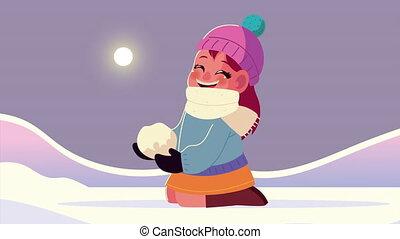 snowscape, boule de neige, scène hiver, girl, porter, vêtements, jouer