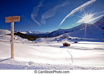 snowscape - picturesque snowy landscape with signpost