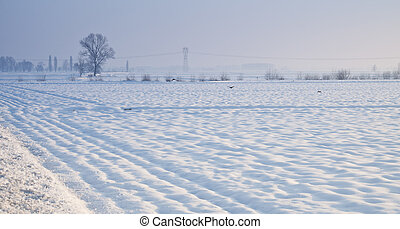 Snowscape - Snowy landscape of a little wood and hills on...