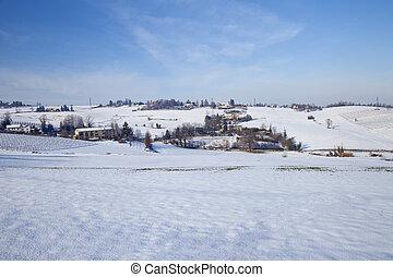 Snowscape - Snowy landscape of hills under blue sky