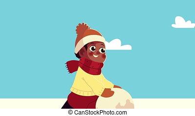 snowscape, vêtements hiver, boule de neige, garçon, afro, jouer, peu, porter