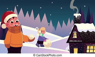 snowscape, vêtements hiver, gosses, boule de neige, jouer, scène, maison, porter, couple