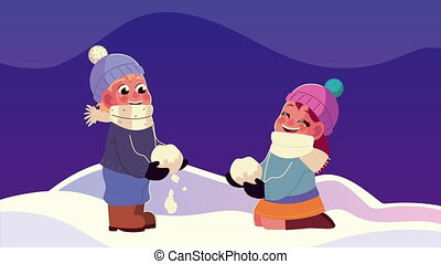 snowscape, vêtements hiver, gosses, boule de neige, jouer, scène, nuit, porter, couple