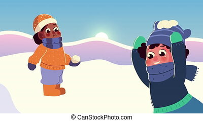 snowscape, vêtements hiver, gosses, boule de neige, jouer, scène, porter, couple, interracial