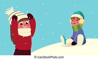 snowscape, vêtements hiver, gosses, boule de neige, jouer, scène, porter, couple