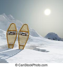 Snowshoe Winter Landscape - Vintage webbed wooden snowshoes...