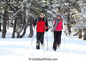 snowshoes, пара, гулять пешком
