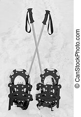 Snowshoes And Crossed Hiking Poles