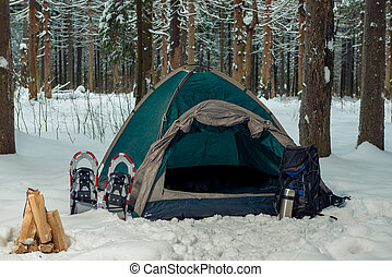 snowshoes near a green tent in a winter forest