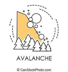 Snowslide or avalanche, natural disaster isolated icon,...