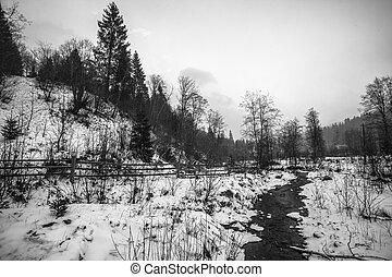snowstorm., חורף, בהרים