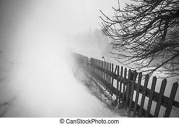 snowstorm., 冬季, 在山