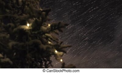 Snowstorm and Christmas tree at night