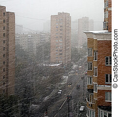Snowstorm in city