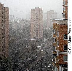 Snowstorm in city