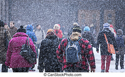 snowstorm, mensen