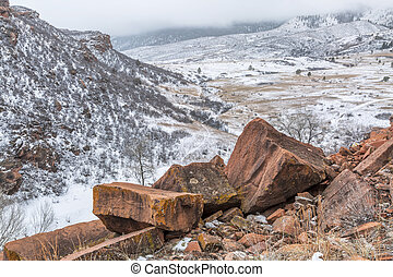 snowstorm over Colorado foothills