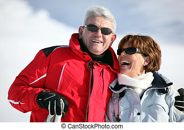snowsuits, par, feliz