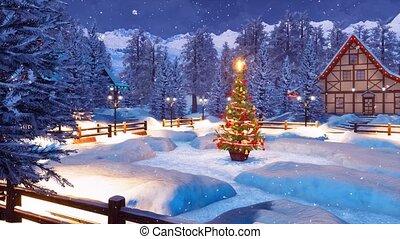 Snowy alpine mountain township at Christmas night - Cozy...