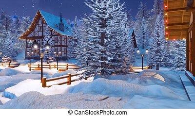 Snowy alpine mountain village at Christmas night - Snowbound...