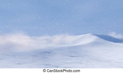 Snowy arctic desert land at snowstorm