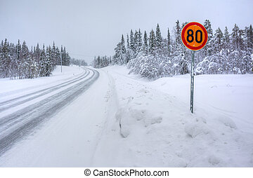 Snowy arctic winter road.