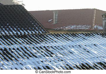 snowy asbestos roof