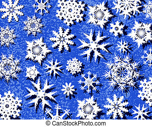 Snowy - Background design of snowflakes and blue grunge