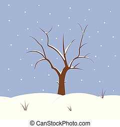 Snowy background with tree