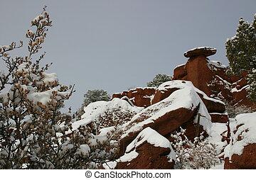 Snowy Balance Rock