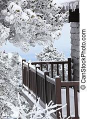 Snowy balcony