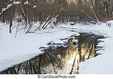 Snowy Banks and Reflections off Waters of Minnehaha Creek