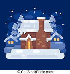 Snowy blue winter village landscape with a house. Christmas flat illustration