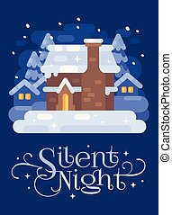 Snowy blue winter village landscape with a house. Silent Night Christmas flat illustration