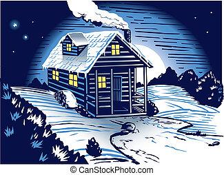 Snowy Cabin - A small, occupied cabin in the snowy, dark...