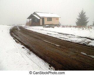 Snowy Cabin in Siberia