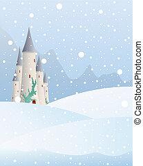 snowy castle - an illustration of a fairytale castle in a...