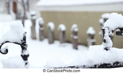 Snowy Cemetery - Shifting focus from the iron fence to some...