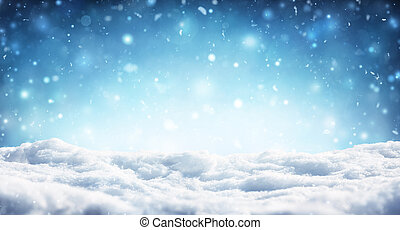 Snowy Christmas Background - Snowfall In Winter