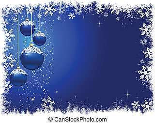 Christmas background with hanging snowy baubles