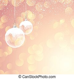 snowy christmas baubles on bokeh lights background 2910