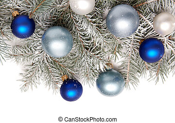 Snowy christmas decoration - White and blue bulbs covered ...